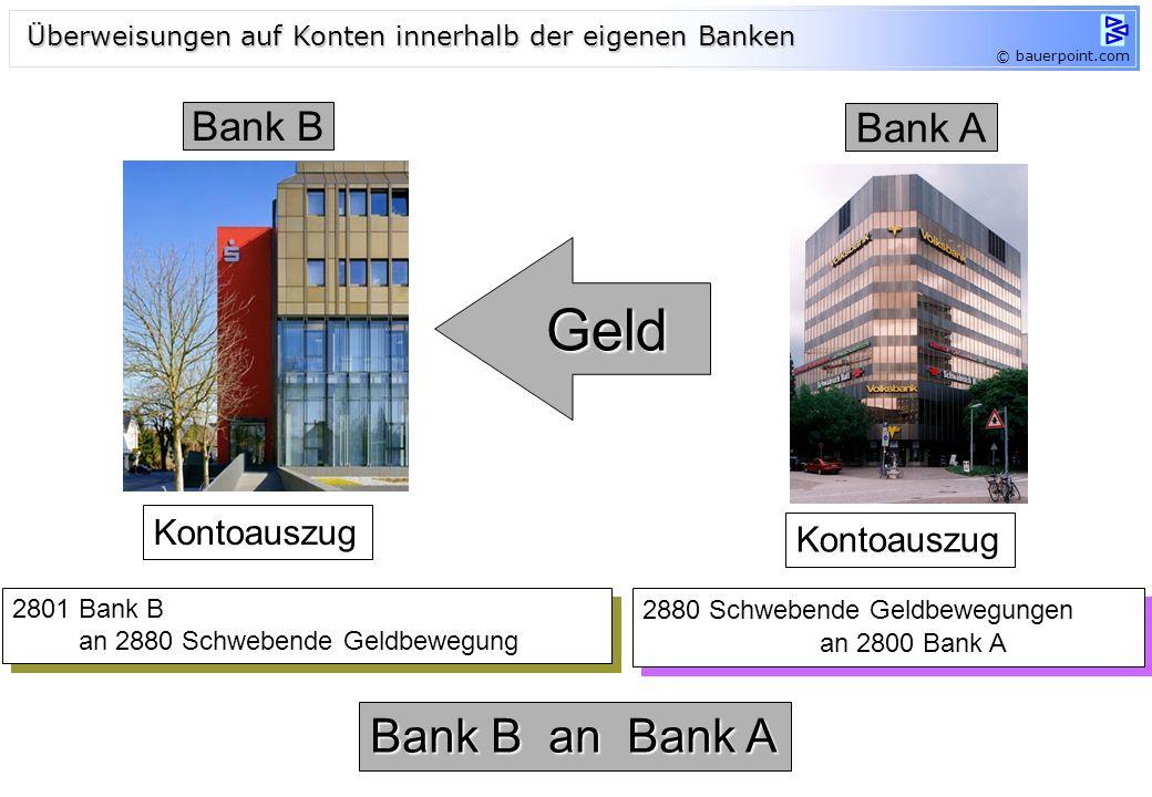 © bauerpoint.com Bank A Bank B Geld 2880 Schwebende Geldbewegungen an 2800 Bank A 2880 Schwebende Geldbewegungen an 2800 Bank A 2801 Bank B an 2880 Sc