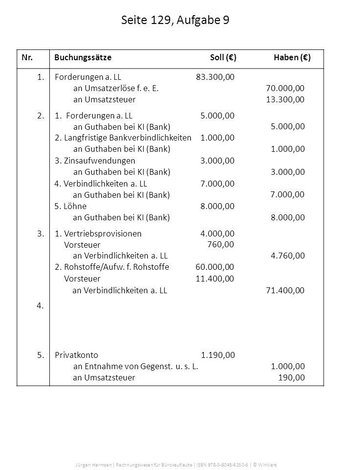 Jürgen Hermsen | Rechnungswesen für Bürokaufleute | ISBN 978-3-8045-6350-6 | © Winklers Nr.BuchungssätzeSoll ()Haben () Seite 129, Aufgabe 9 Forderung