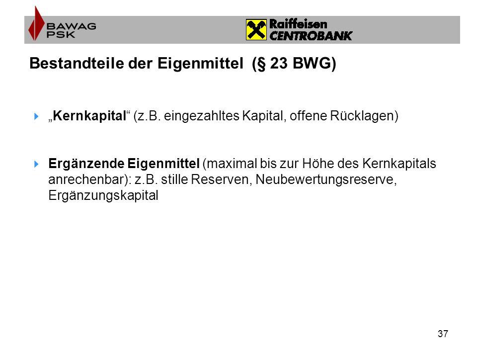37 Bestandteile der Eigenmittel (§ 23 BWG) Kernkapital (z.B.