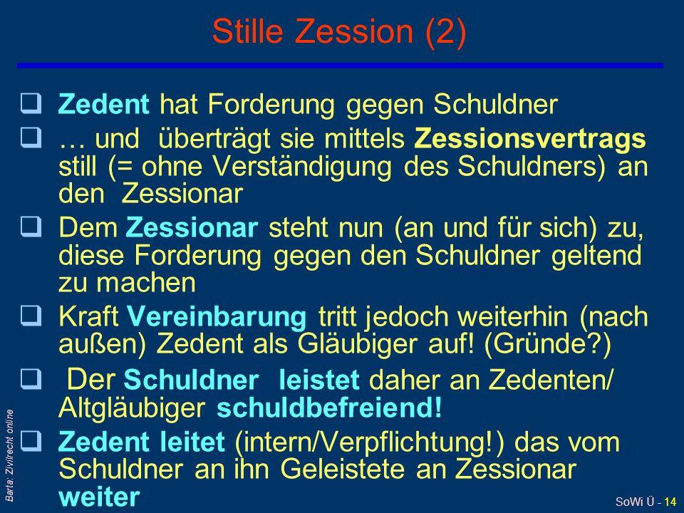 SoWi Ü - 14 Barta: Zivilrecht online Stille Zession (2) qZedent hat Forderung gegen Schuldner q… und überträgt sie mittels Zessionsvertrags still (= o