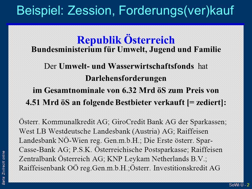 SoWi Ü - 13 Barta: Zivilrecht online Stille Zession (1) Zedent Zessionar Zessus Schuldner wird von Abtretung nicht verständigt.