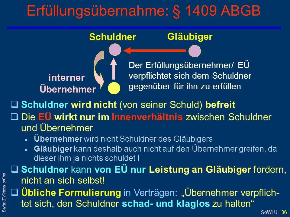 SoWi Ü - 36 Barta: Zivilrecht online Erfüllungsübernahme: § 1409 ABGB Der Erfüllungsübernehmer/ EÜ verpflichtet sich dem Schuldner gegenüber für ihn z