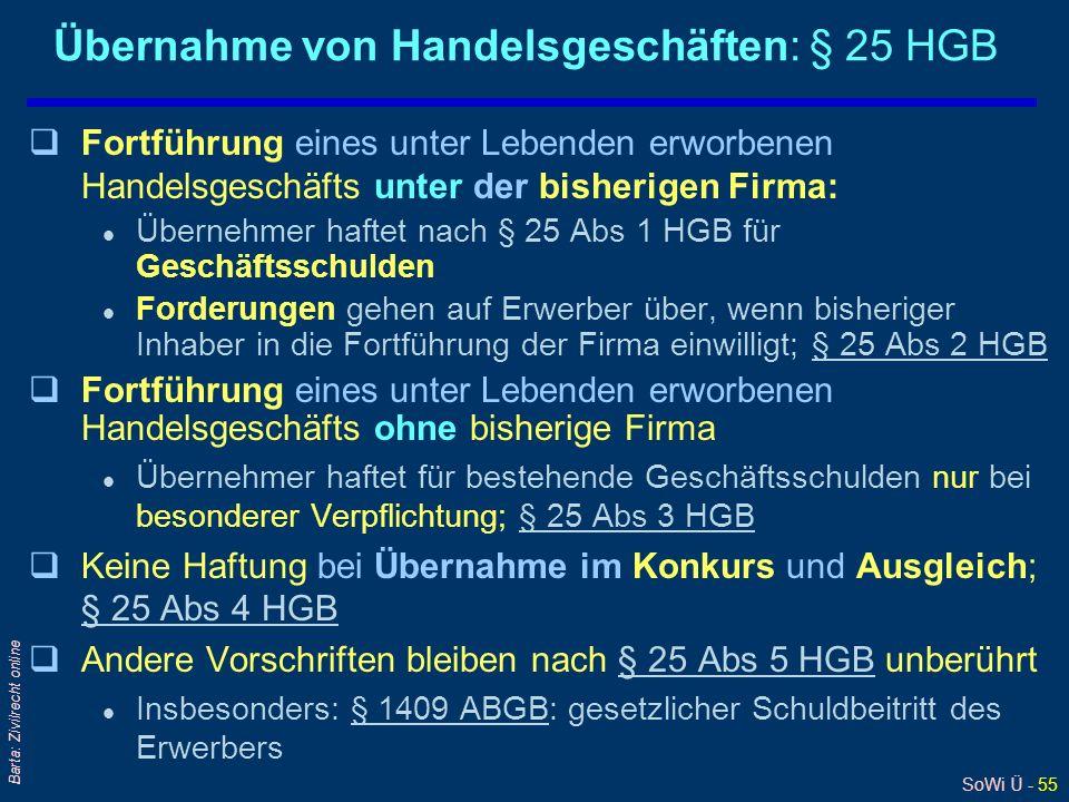SoWi Ü - 55 Barta: Zivilrecht online Übernahme von Handelsgeschäften: § 25 HGB qFortführung eines unter Lebenden erworbenen Handelsgeschäfts unter der