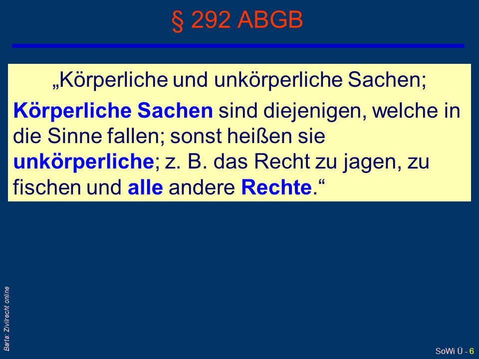 SoWi Ü - 37 Barta: Zivilrecht online Hypothekenübernahme: § 1408 ABGB qSonderfall des Schuldnerwechsels qDer Erwerber einer mit einer Hypothek belasteten Liegenschaft wird Realschuldner; Sachhaftung.