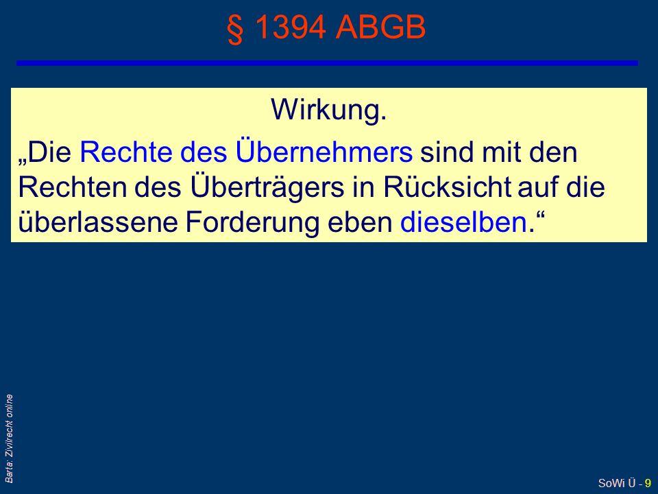 SoWi Ü - 40 Barta: Zivilrecht online Vermögens- oder Unternehmensübernahme (2) qÜbernehmer- oder Erwerberhaftung nach § 1409 ABGB gilt nur für jene Schulden, die er bei der Übergabe [des Vermögens/Unternehmens] kannte oder kennen mußte § 1409 ABGB l System der Betragsbeschränkung/ pro viribus-Haftung Haftung ist beschränkt auf die Höhe der übernommenen Aktiva q§ 1409 Abs 3 ABGB setzt zwingendes Recht qBeweislastumkehr für nahe Angehörige Der Begriff naher Angehöriger stammt aus § 32 KO§ 32 KO q § 1409a ABGB: Keine Übernehmerhaftung bei Exekution, Ausgleich und Konkurs etc; denn: Haftung nach § 1409 ABGB gilt nur für rechtsgeschäftliche Übernahmen § 1409a ABGB