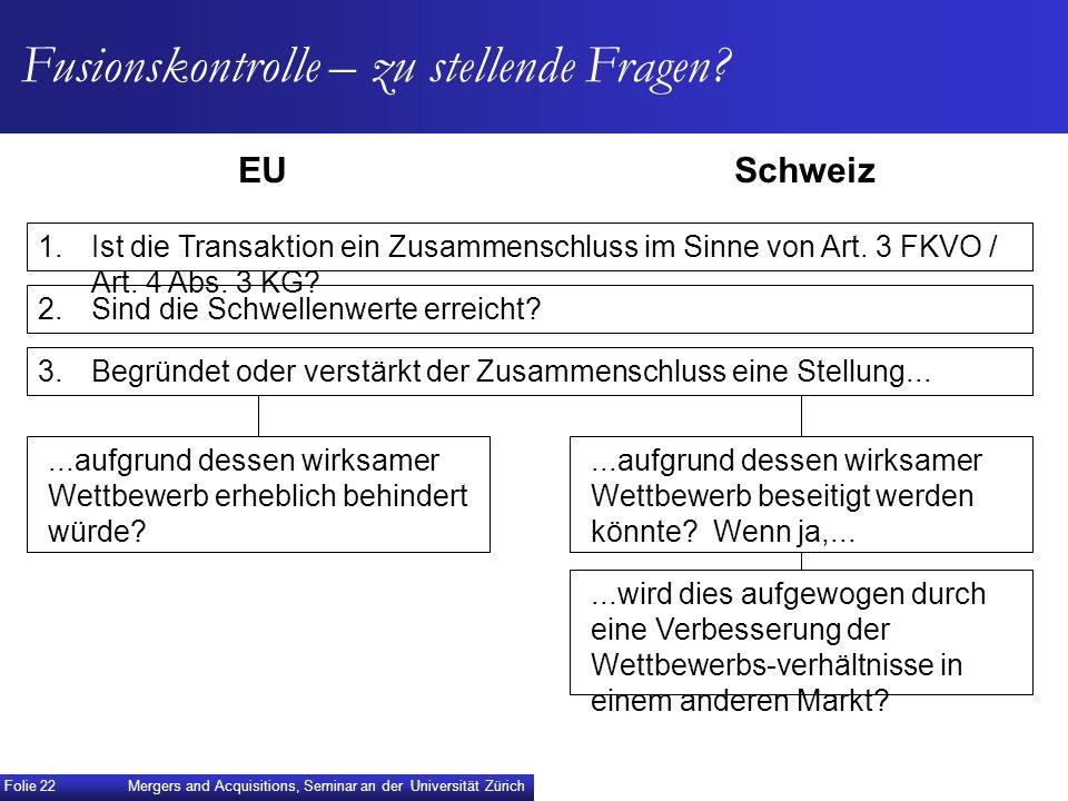 Fusionskontrolle – zu stellende Fragen? EUSchweiz...aufgrund dessen wirksamer Wettbewerb erheblich behindert würde?...wird dies aufgewogen durch eine