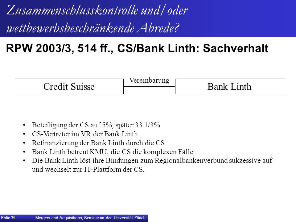 RPW 2003/3, 514 ff., CS/Bank Linth: Sachverhalt Credit SuisseBank Linth Beteiligung der CS auf 5%, später 33 1/3% CS-Vertreter im VR der Bank Linth Re