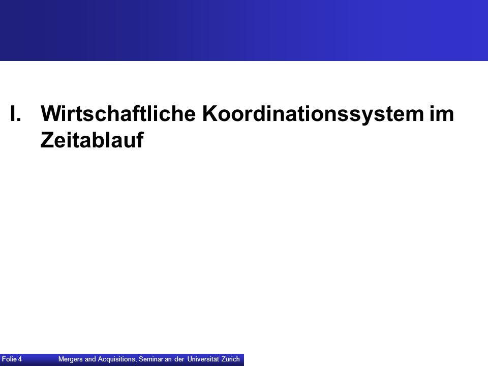 I. Wirtschaftliche Koordinationssystem im Zeitablauf Mergers and Acquisitions, Seminar an der Universität Zürich Folie 4