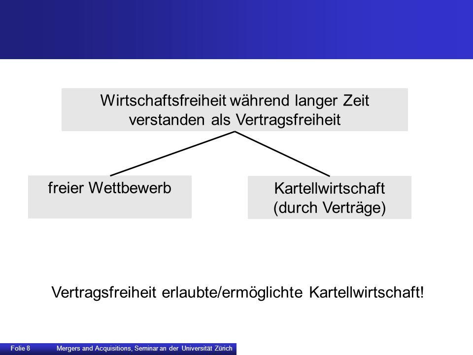 Folie 8 Mergers and Acquisitions, Seminar an der Universität Zürich Wirtschaftsfreiheit während langer Zeit verstanden als Vertragsfreiheit freier Wet