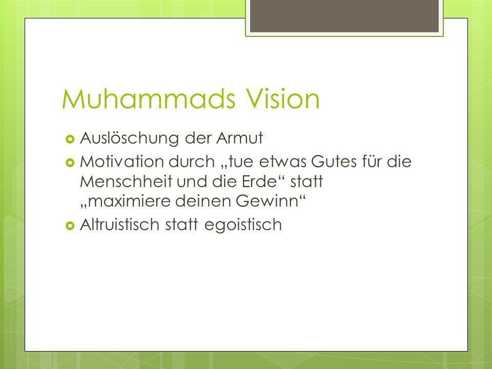 Muhammads Vision Auslöschung der Armut Motivation durch tue etwas Gutes für die Menschheit und die Erde statt maximiere deinen Gewinn Altruistisch sta