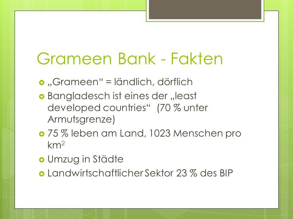 Grameen Bank - Fakten Grameen = ländlich, dörflich Bangladesch ist eines der least developed countries (70 % unter Armutsgrenze) 75 % leben am Land, 1
