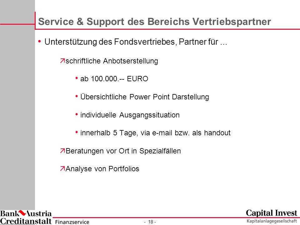 - 18 - Service & Support des Bereichs Vertriebspartner Unterstützung des Fondsvertriebes, Partner für...
