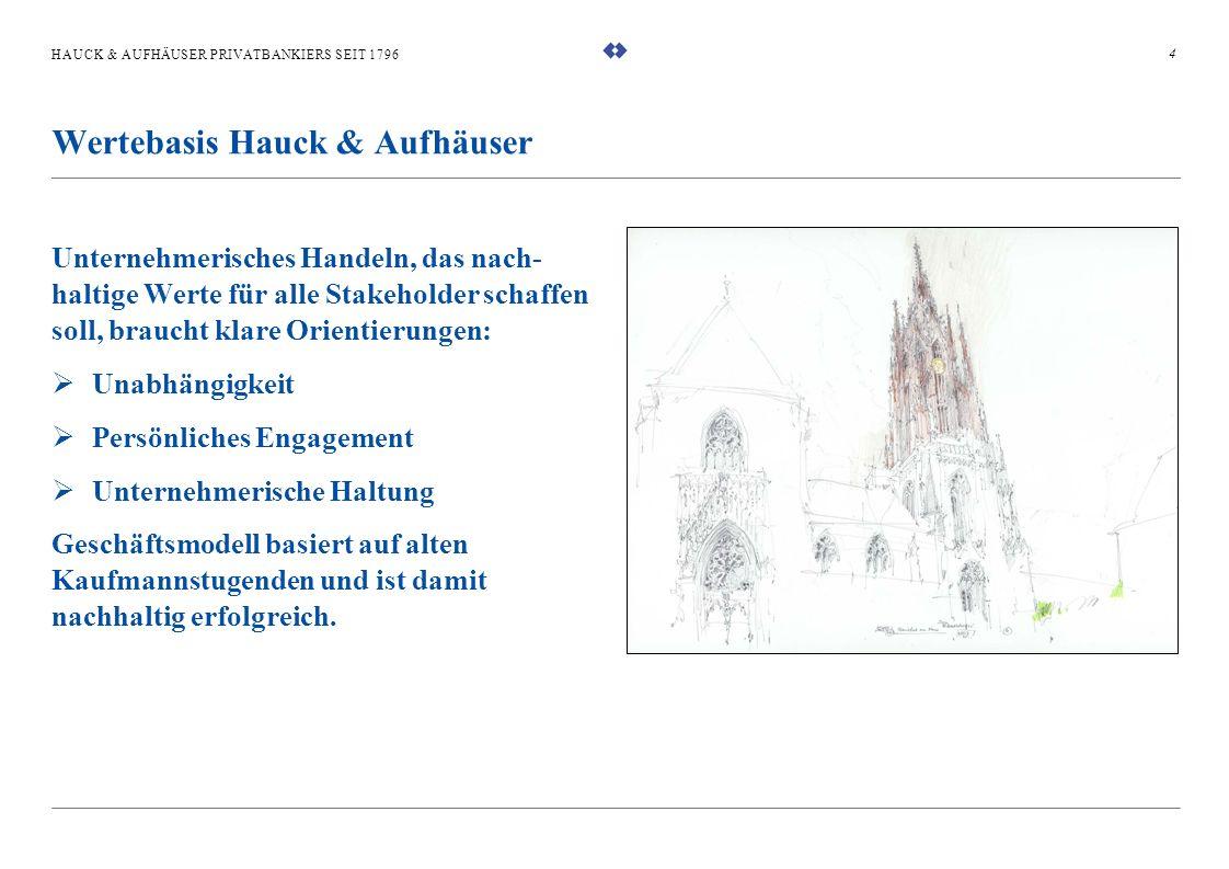 HAUCK & AUFHÄUSER PRIVATBANKIERS SEIT 1796 Unternehmerisches Handeln, das nach- haltige Werte für alle Stakeholder schaffen soll, braucht klare Orient