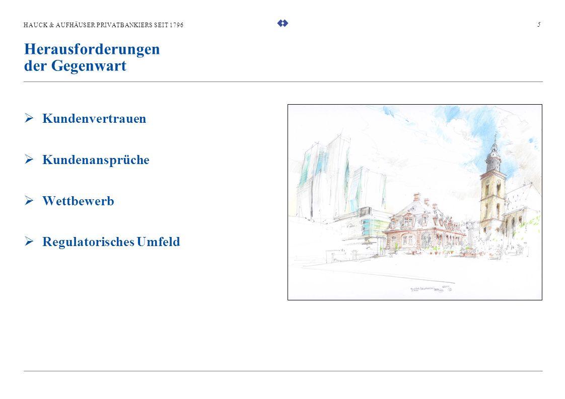 HAUCK & AUFHÄUSER PRIVATBANKIERS SEIT 1796 Kundenvertrauen Kundenansprüche Wettbewerb Regulatorisches Umfeld 5 Herausforderungen der Gegenwart