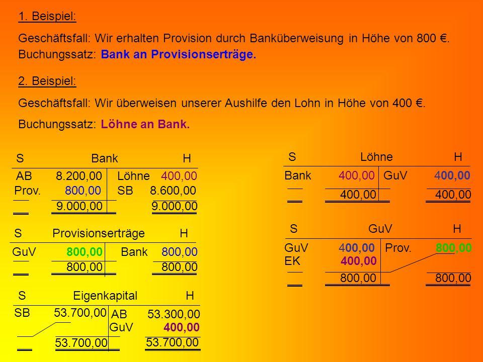 1. Beispiel: Geschäftsfall: Wir erhalten Provision durch Banküberweisung in Höhe von 800. Buchungssatz: Bank an Provisionserträge. 2. Beispiel: Geschä
