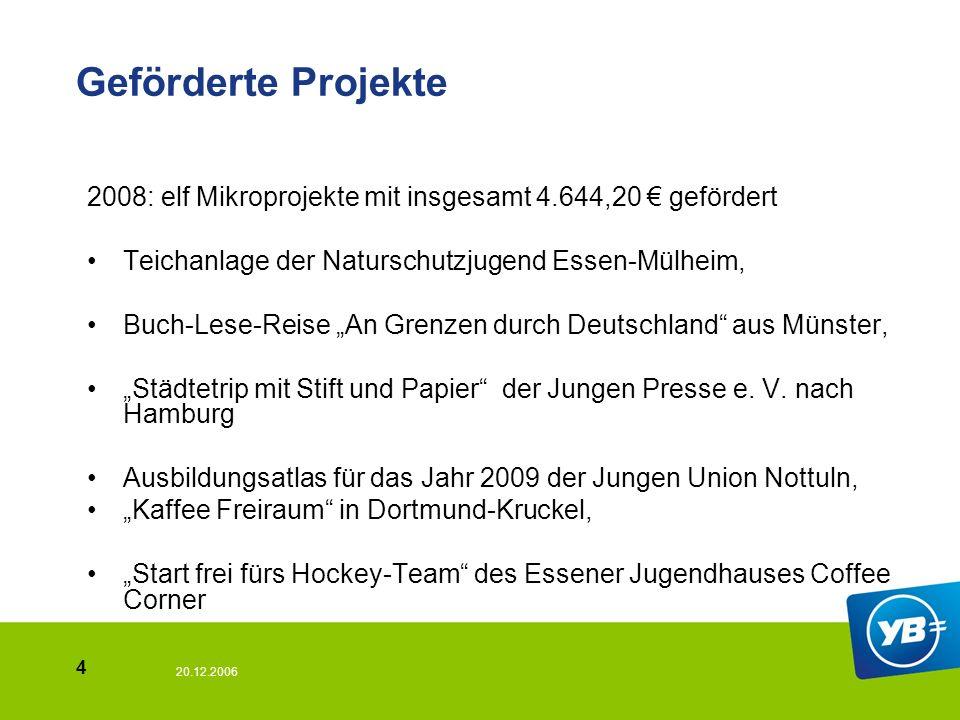 20.12.2006 5 Geförderte Projekte Kurzfilm Schimmer:Bochumer Jugendliche thematisieren das Erwachsenwerden SV-Fahrt des Essener Maria-Wächtler-Gymnasiums.