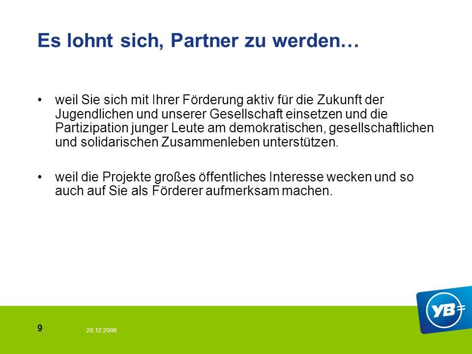 20.12.2006 10 Der direkte Draht zu uns.Youth Bank Essen-Münster c/o Junge Presse e.V.