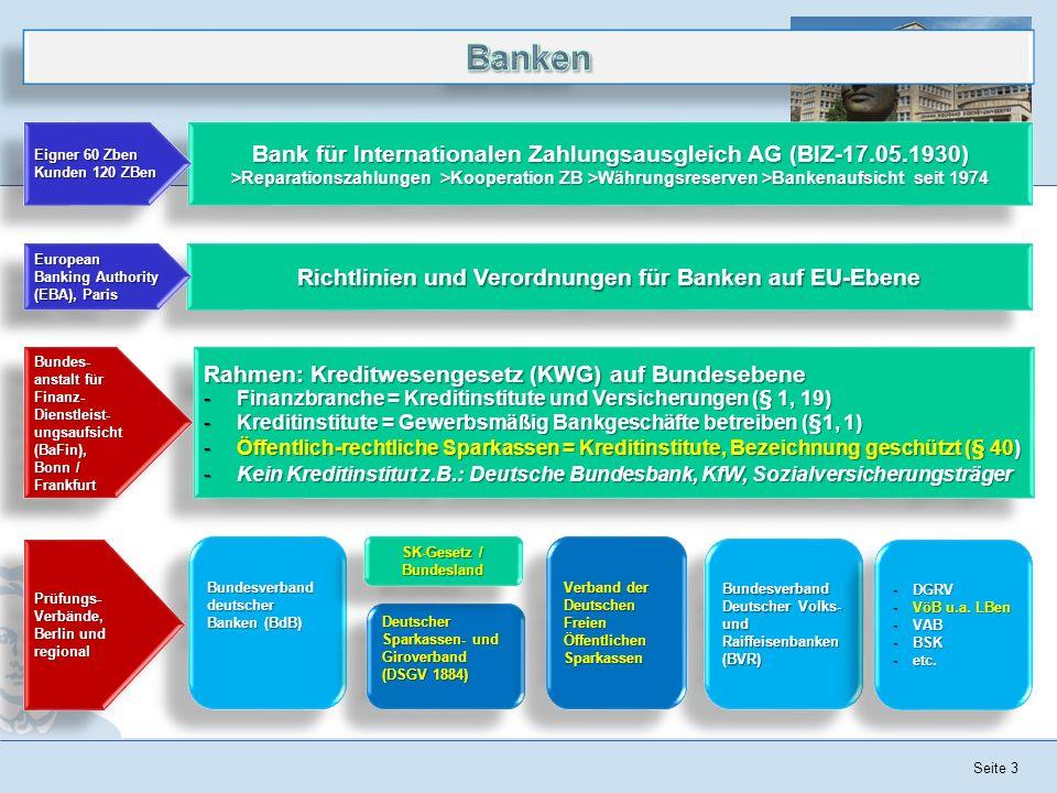 Seite 3 Rahmen: Kreditwesengesetz (KWG) auf Bundesebene -Finanzbranche = Kreditinstitute und Versicherungen (§ 1, 19) -Kreditinstitute = Gewerbsmäßig