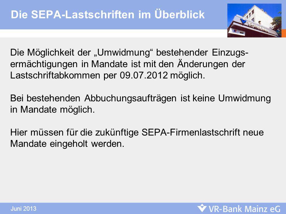 Die SEPA-Lastschriften im Überblick Die Möglichkeit der Umwidmung bestehender Einzugs- ermächtigungen in Mandate ist mit den Änderungen der Lastschrif