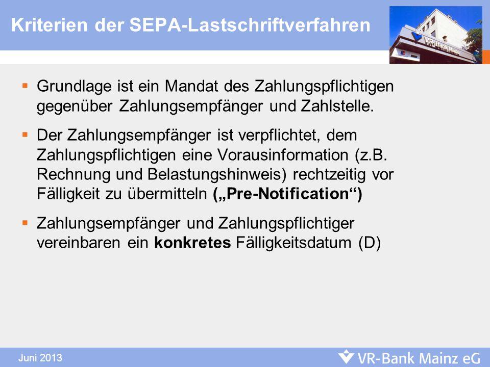 Kriterien der SEPA-Lastschriftverfahren Grundlage ist ein Mandat des Zahlungspflichtigen gegenüber Zahlungsempfänger und Zahlstelle. Der Zahlungsempfä