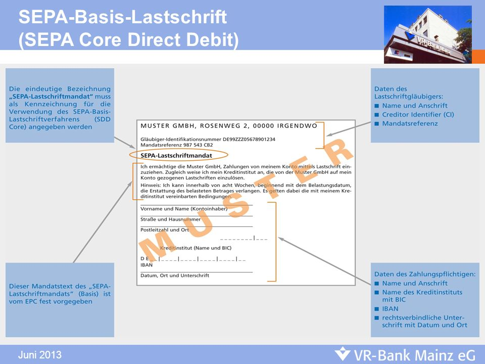 Juni 2013 SEPA-Basis-Lastschrift (SEPA Core Direct Debit)