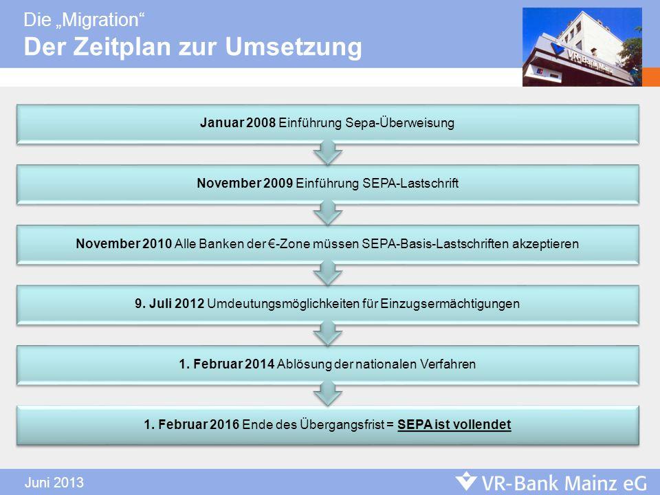 Die Migration Der Zeitplan zur Umsetzung. 1. Februar 2016 Ende des Übergangsfrist = SEPA ist vollendet 1. Februar 2014 Ablösung der nationalen Verfahr