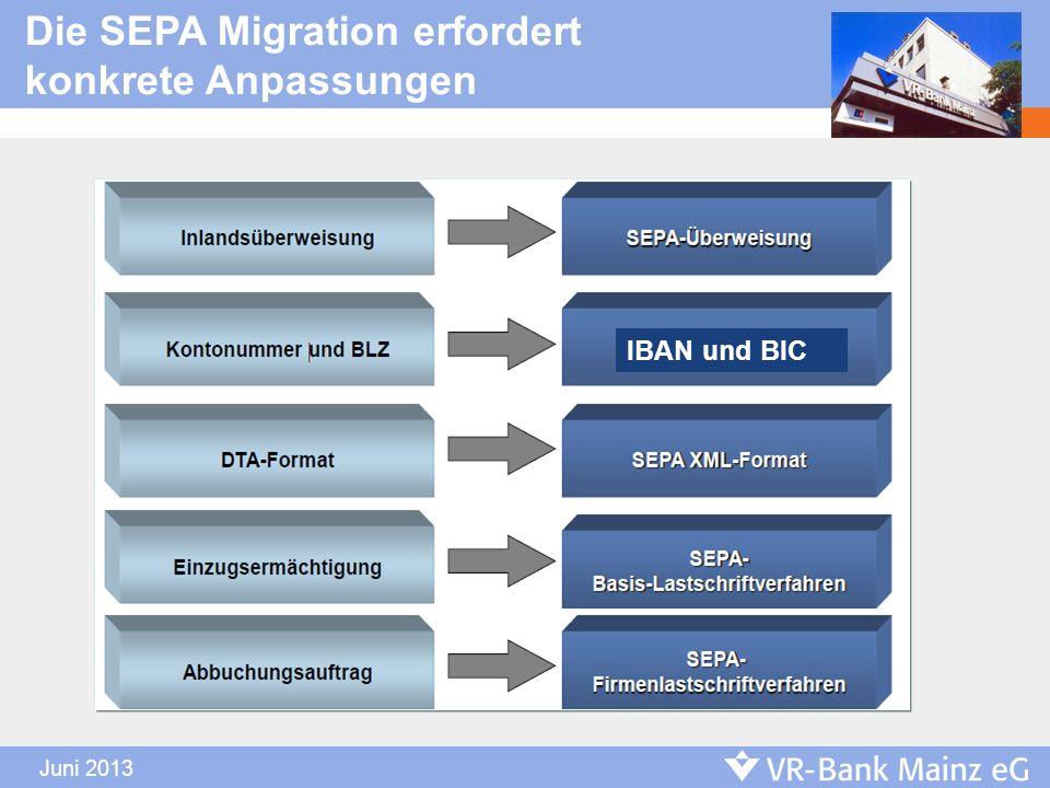Die SEPA Migration erfordert konkrete Anpassungen IBAN und BIC
