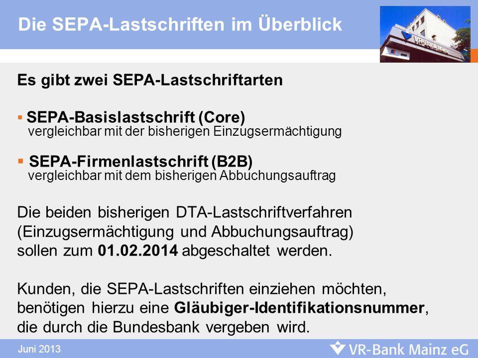 Die SEPA-Lastschriften im Überblick Es gibt zwei SEPA-Lastschriftarten SEPA-Basislastschrift (Core) vergleichbar mit der bisherigen Einzugsermächtigun