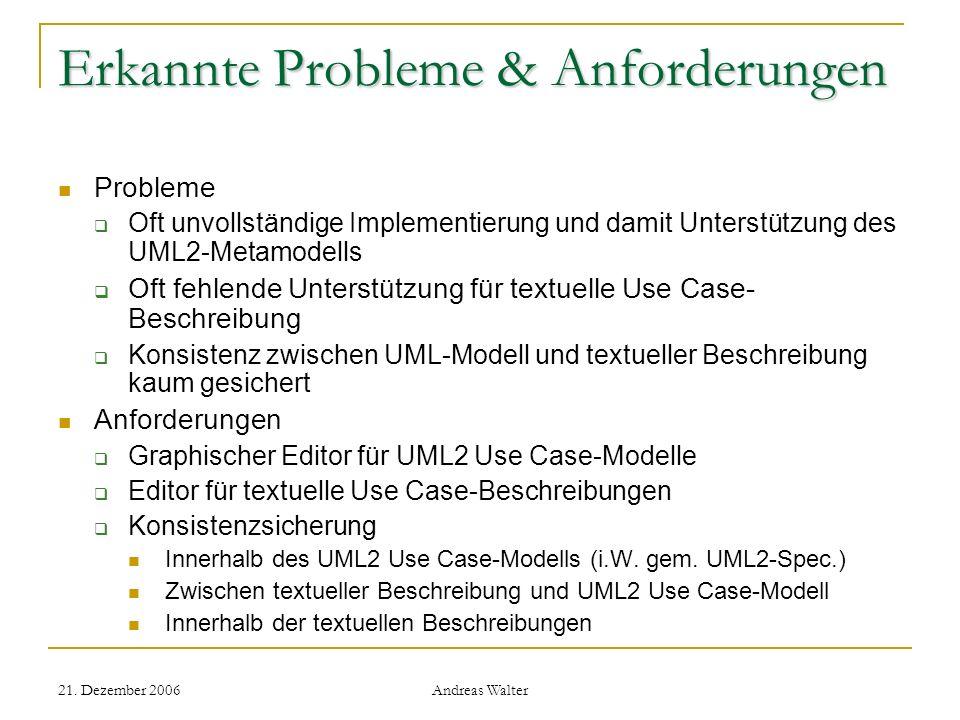 21. Dezember 2006 Andreas Walter Erkannte Probleme & Anforderungen Probleme Oft unvollständige Implementierung und damit Unterstützung des UML2-Metamo
