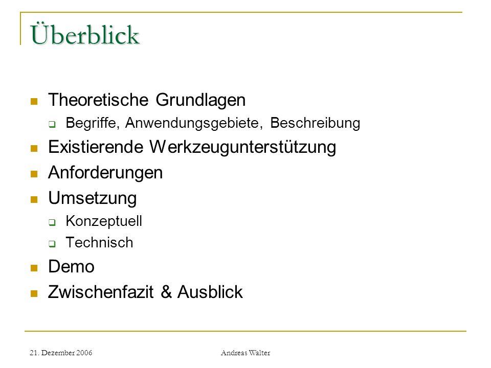 21. Dezember 2006 Andreas Walter Überblick Theoretische Grundlagen Begriffe, Anwendungsgebiete, Beschreibung Existierende Werkzeugunterstützung Anford