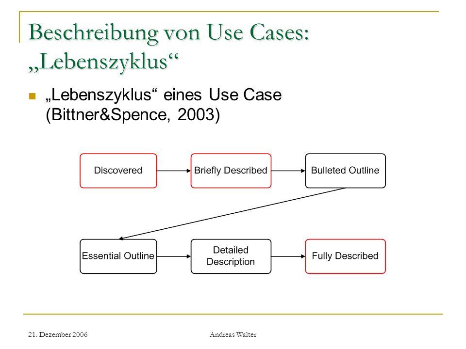 21. Dezember 2006 Andreas Walter Beschreibung von Use Cases: Lebenszyklus Lebenszyklus eines Use Case (Bittner&Spence, 2003)