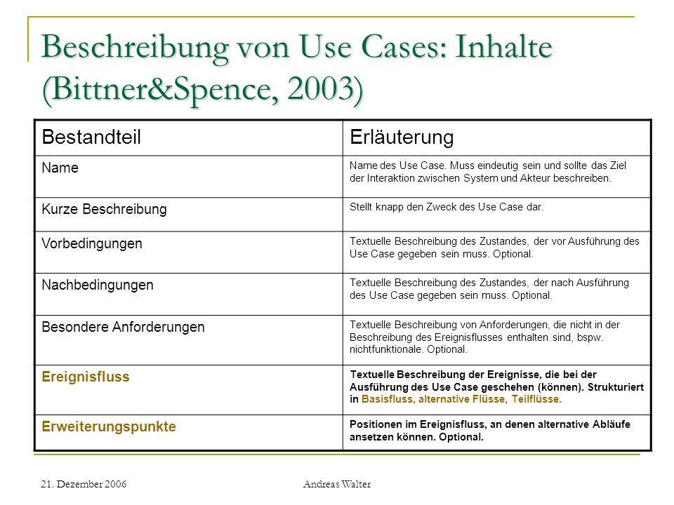 21. Dezember 2006 Andreas Walter Beschreibung von Use Cases: Inhalte (Bittner&Spence, 2003) BestandteilErläuterung Name Name des Use Case. Muss eindeu