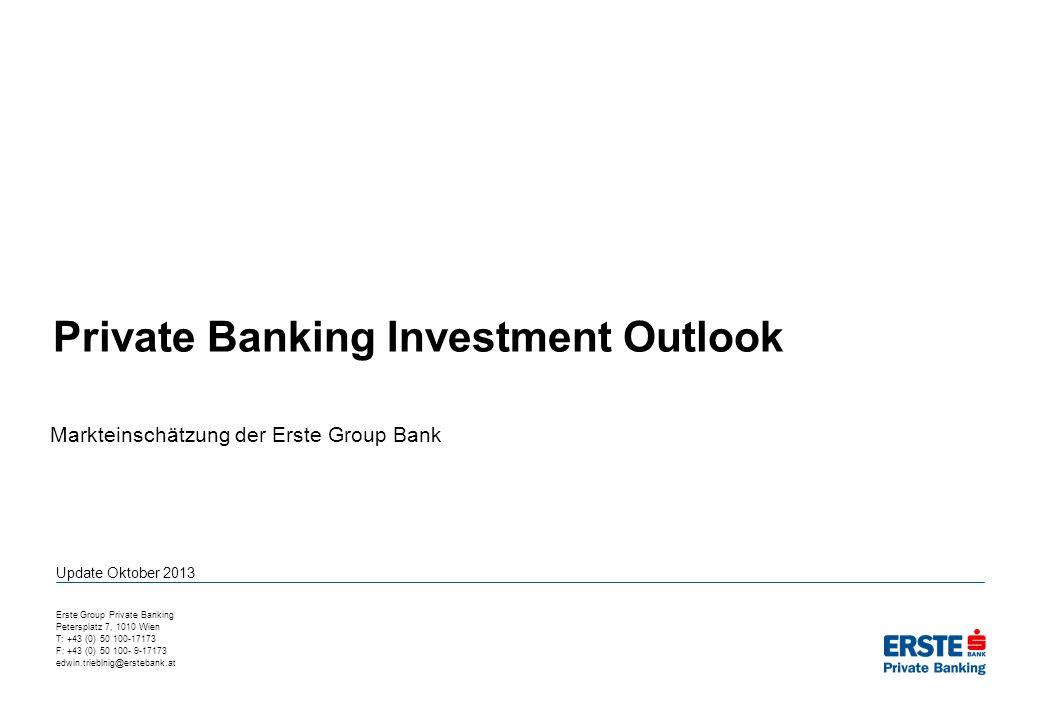 Erwartungen und Markteinschätzungen zusammengefasst 2Private Banking Investment Outlook - Update Oktober 2013 Die treibenden Faktoren für die Finanzmärkte sind die Verbesserung einer Vielzahl von Wirtschaftsindikatoren und die extrem lockere Geldpolitik in den wichtigsten Industriestaaten.