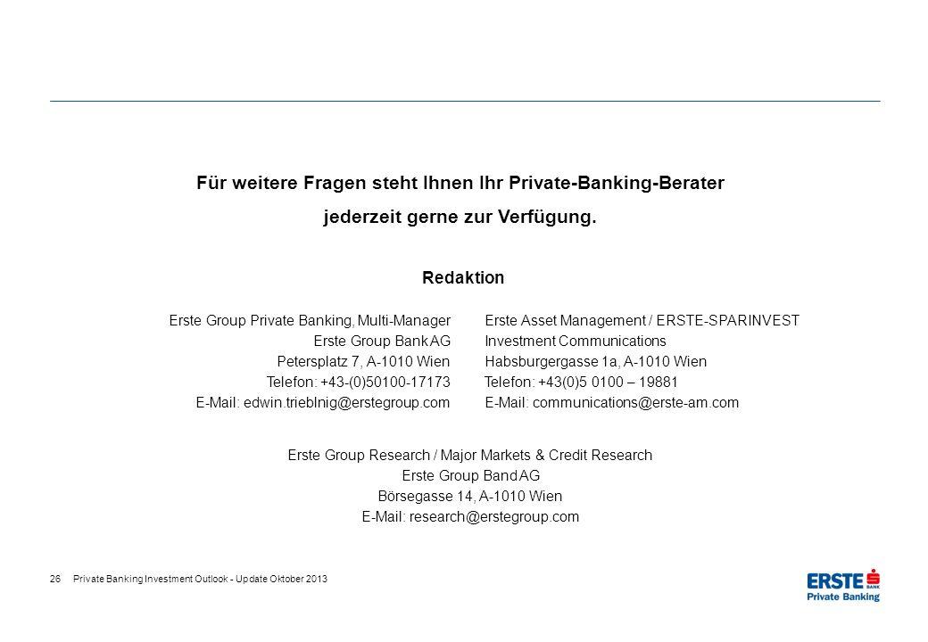 26 Für weitere Fragen steht Ihnen Ihr Private-Banking-Berater jederzeit gerne zur Verfügung. Erste Group Private Banking, Multi-Manager Erste Group Ba