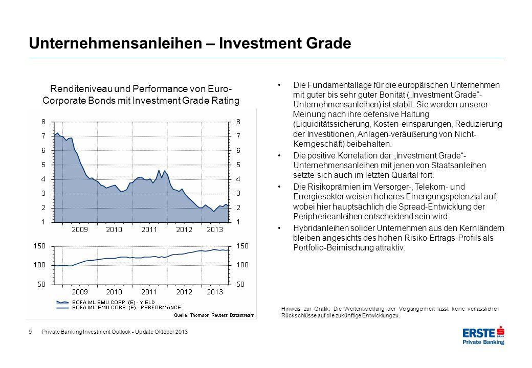 9 Unternehmensanleihen – Investment Grade Die Fundamentallage für die europäischen Unternehmen mit guter bis sehr guter Bonität (Investment Grade- Unt