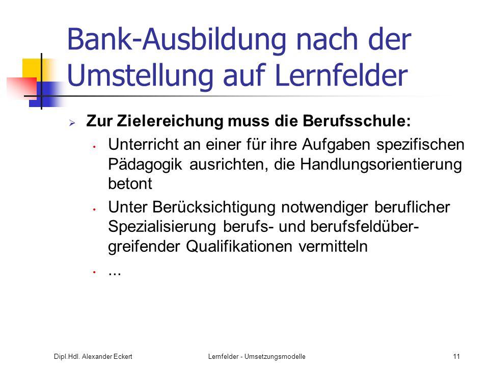 Dipl.Hdl. Alexander EckertLernfelder - Umsetzungsmodelle11 Bank-Ausbildung nach der Umstellung auf Lernfelder Zur Zielereichung muss die Berufsschule: