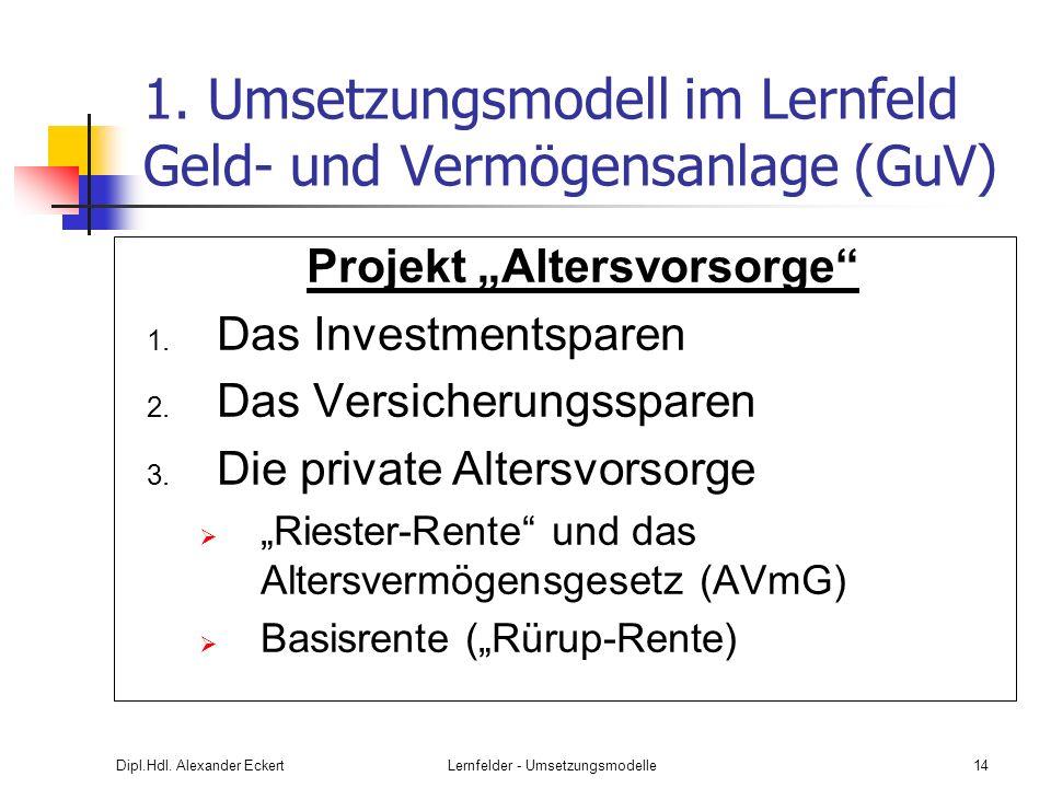 Dipl.Hdl. Alexander EckertLernfelder - Umsetzungsmodelle14 1. Umsetzungsmodell im Lernfeld Geld- und Vermögensanlage (GuV) Projekt Altersvorsorge 1. D