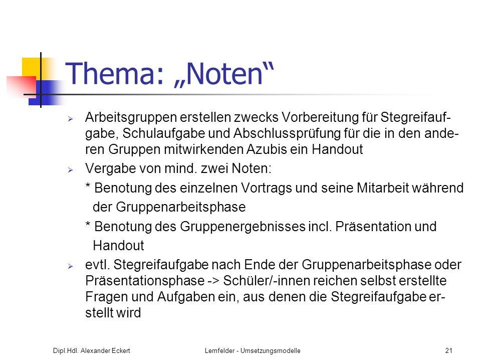 Dipl.Hdl. Alexander EckertLernfelder - Umsetzungsmodelle21 Thema: Noten Arbeitsgruppen erstellen zwecks Vorbereitung für Stegreifauf- gabe, Schulaufga