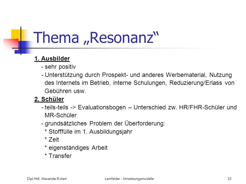 Dipl.Hdl. Alexander EckertLernfelder - Umsetzungsmodelle23 Thema Resonanz 1. Ausbilder - sehr positiv - Unterstützung durch Prospekt- und anderes Werb