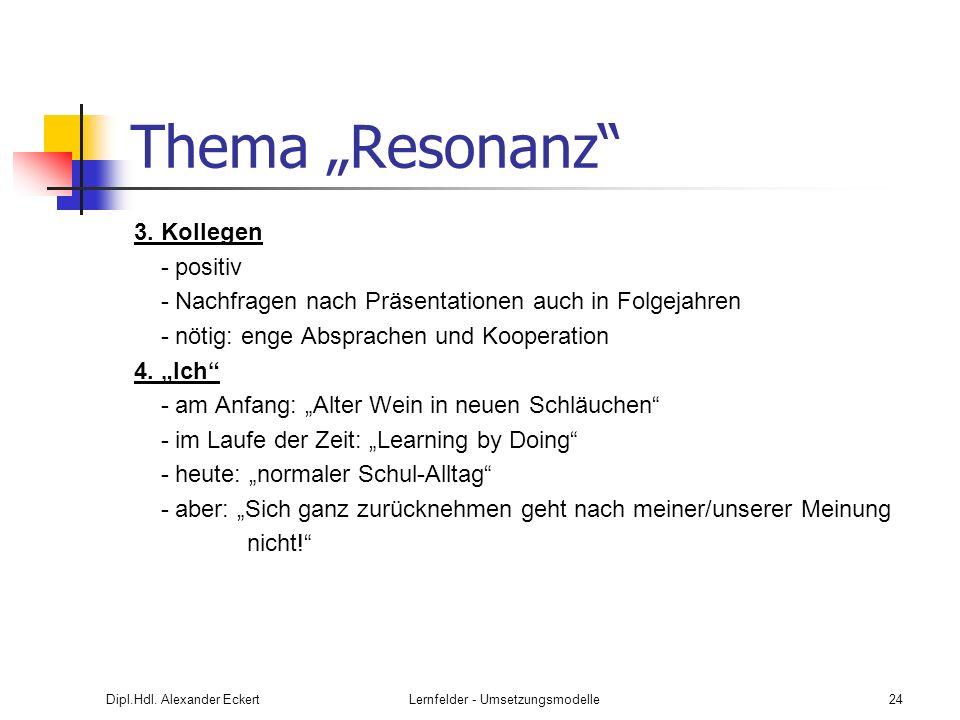 Dipl.Hdl. Alexander EckertLernfelder - Umsetzungsmodelle24 Thema Resonanz 3. Kollegen - positiv - Nachfragen nach Präsentationen auch in Folgejahren -