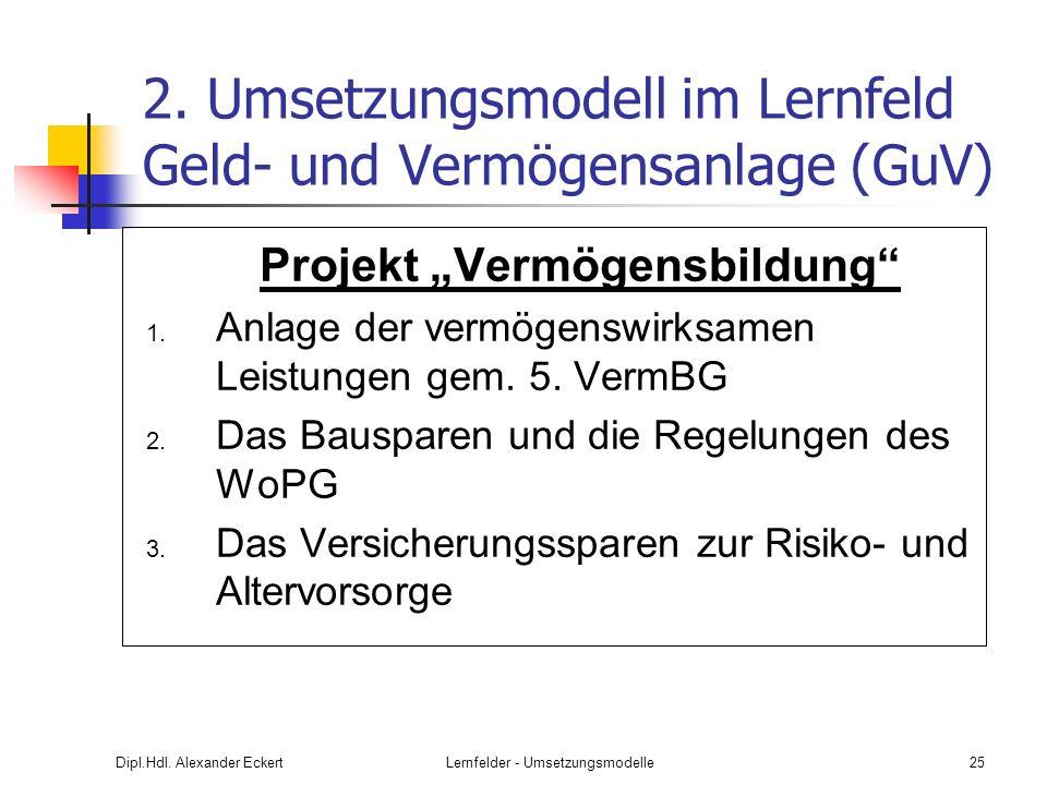 Dipl.Hdl. Alexander EckertLernfelder - Umsetzungsmodelle25 2. Umsetzungsmodell im Lernfeld Geld- und Vermögensanlage (GuV) Projekt Vermögensbildung 1.