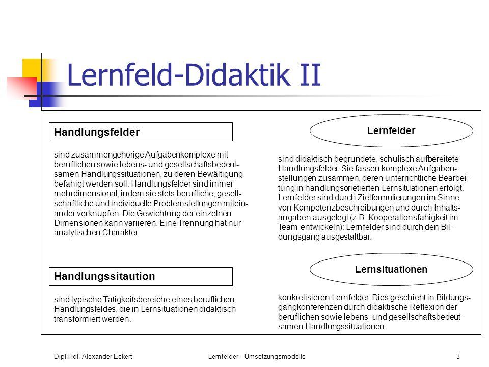 Dipl.Hdl. Alexander EckertLernfelder - Umsetzungsmodelle3 Lernfeld-Didaktik II Handlungsfelder sind zusammengehörige Aufgabenkomplexe mit beruflichen