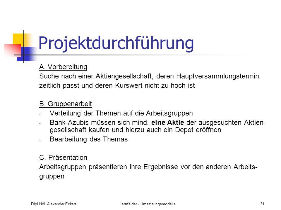 Dipl.Hdl. Alexander EckertLernfelder - Umsetzungsmodelle31 Projektdurchführung A. Vorbereitung Suche nach einer Aktiengesellschaft, deren Hauptversamm