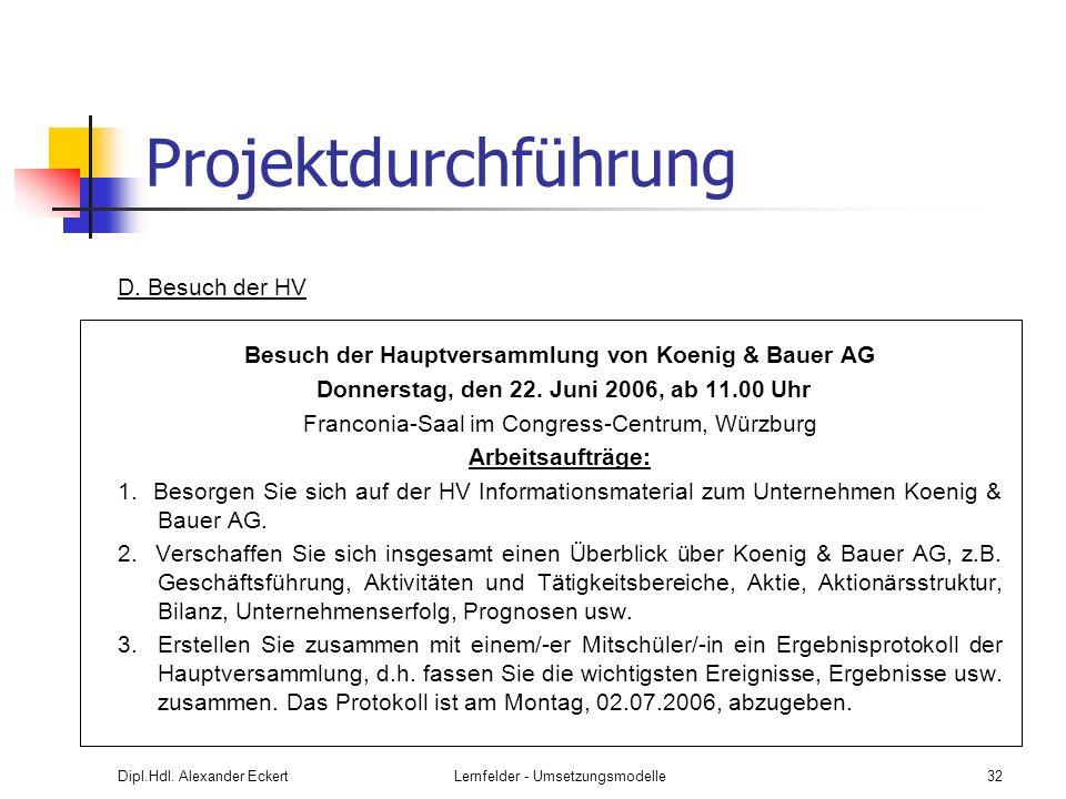 Dipl.Hdl. Alexander EckertLernfelder - Umsetzungsmodelle32 Projektdurchführung D. Besuch der HV Besuch der Hauptversammlung von Koenig & Bauer AG Donn