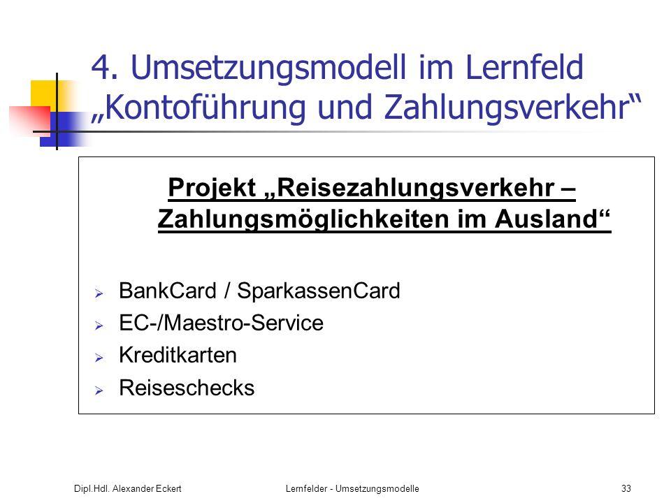 Dipl.Hdl. Alexander EckertLernfelder - Umsetzungsmodelle33 4. Umsetzungsmodell im Lernfeld Kontoführung und Zahlungsverkehr Projekt Reisezahlungsverke