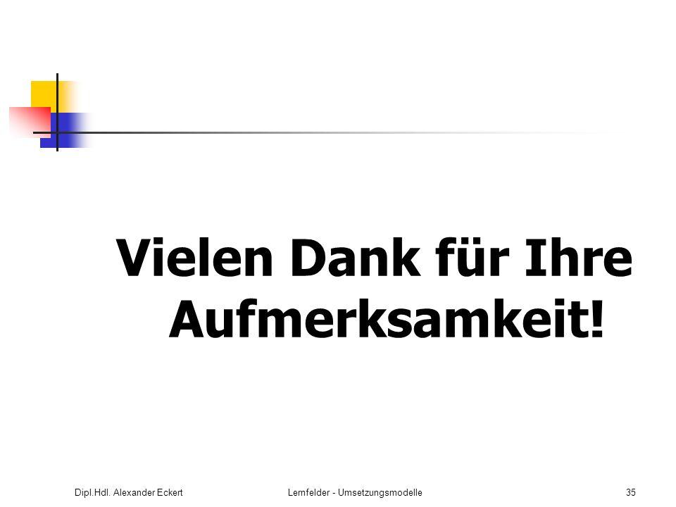 Dipl.Hdl. Alexander EckertLernfelder - Umsetzungsmodelle35 Vielen Dank für Ihre Aufmerksamkeit!