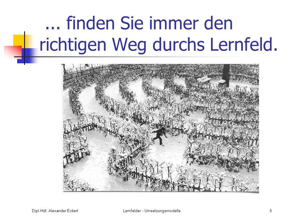Dipl.Hdl. Alexander EckertLernfelder - Umsetzungsmodelle6... finden Sie immer den richtigen Weg durchs Lernfeld.
