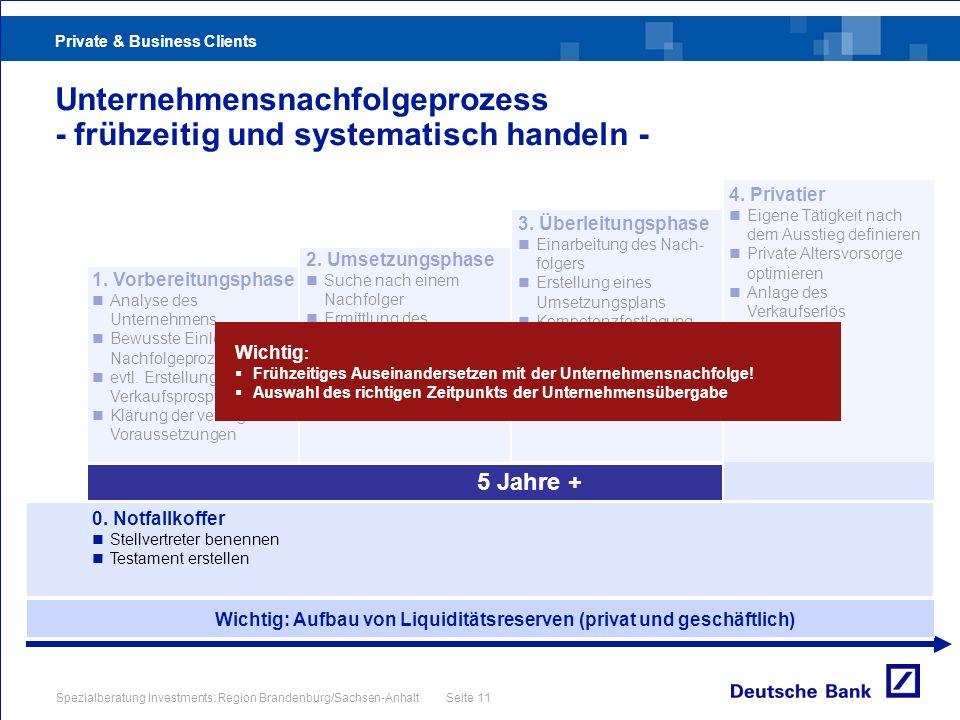 Private & Business Clients Spezialberatung Investments: Region Brandenburg/Sachsen-Anhalt Seite 11 Unternehmensnachfolgeprozess - frühzeitig und syste