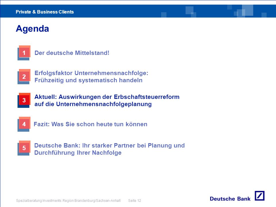 Private & Business Clients Spezialberatung Investments: Region Brandenburg/Sachsen-Anhalt Seite 12 Agenda 3 Aktuell: Auswirkungen der Erbschaftsteuerr