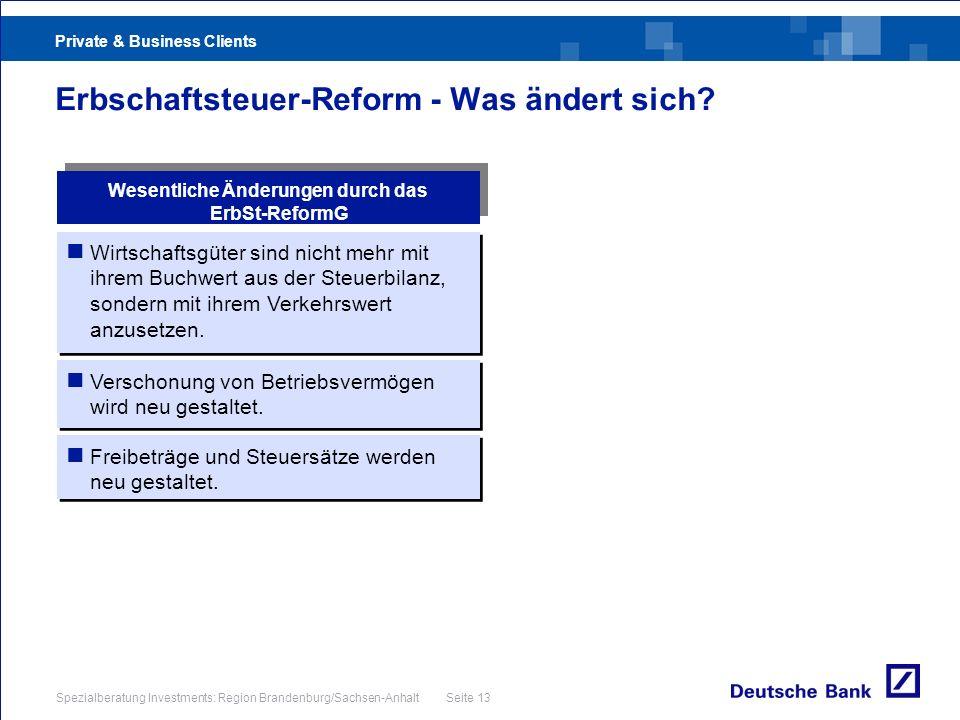Private & Business Clients Spezialberatung Investments: Region Brandenburg/Sachsen-Anhalt Seite 13 Erbschaftsteuer-Reform - Was ändert sich? Wirtschaf